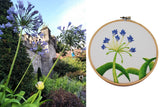 Agapanthus in Dublin Embroidery Purple and Green Flower 6 inch hoop finished piece