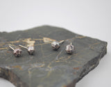 Tiny Stone Studs Faceted Drop-- oxidized silver