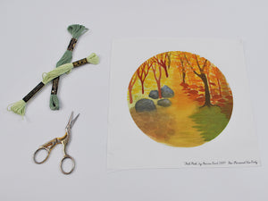 """Fall Path"" Waldorf Inspired Embroidery Background, Fill in with Your Own Stitches"