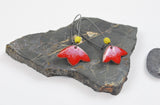 Fuchsia Blossom Enameled Earring on Oxidized Silver Hook
