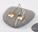 Golden Cherry Blossom Dangle Earring--Brushed Gold Filled Metal on Oxidized Silver Kidney Earwires