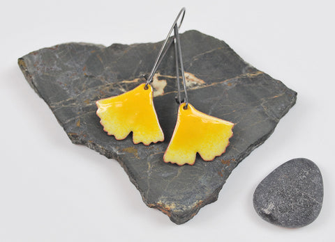Fall Yellow Ombre Ginkgo on Oxidized Silver Hook