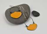 Goldenrod Basket Earrings Enameled Copper on Oxidized Sterling Silver