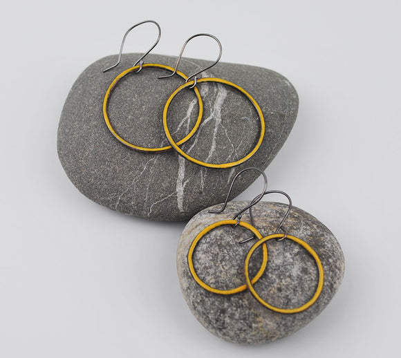 Goldenrod Enameled Hoops Large and Small Sizes