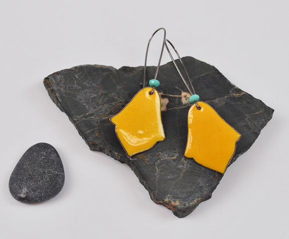 Goldenrod India Enameled Earring on Oxidized Silver Hook