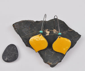 Goldenrod Onion Enameled Earring on Oxidized Silver Hook