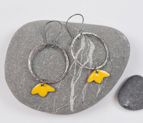 Tulip Hoops Goldenrod Blossom Enameled Earring on Oxidized Silver
