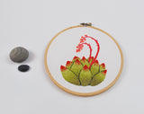 Succulent Embroidery in Olive Green Ombre Green Ombre with Salmon and Coral Colored Flower