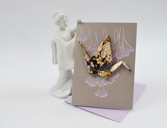 Crane Card in Grey, Lavender, and Mettalic   Origami Washi Paper Crane on a hand Screen Printed Card with Complimentary Envelope