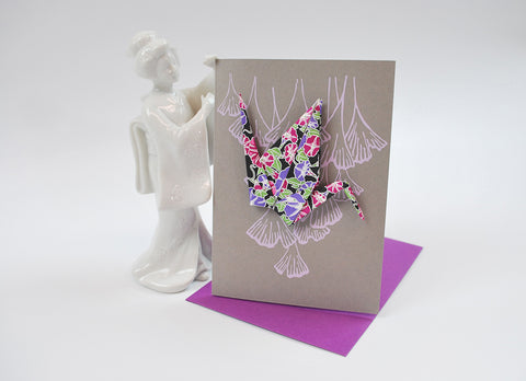 Crane Card in Grey, Lavender, and Purples Origami Washi Paper Crane on a hand Screen Printed Card with Complimentary Envelope