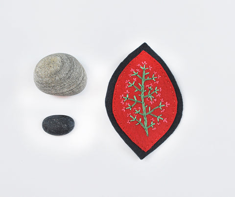 Embroidered Felt Brooch-- Rust on Charcoal Grey