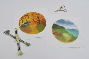 """Ode to Ireland"" & ""Fall Path"" Waldorf Inspired Embroidery Backgrounds 2 Pieces"
