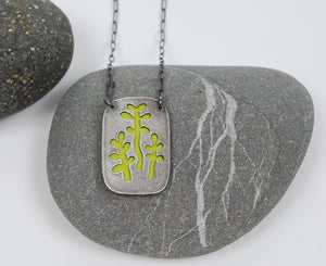 Jade Plant Love--hand cut recycled silver layered over enameled copper