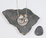 Lily Pad Necklace in silver with Moonstone accent