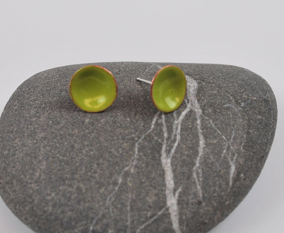 Lime Cups Enameled Earrings with Silver Posts