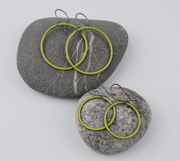Lime Enameled Hoops Large and Small Sizes