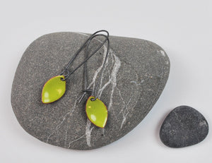 Lime Leaf Enameled Earring on Oxidized Silver Hook