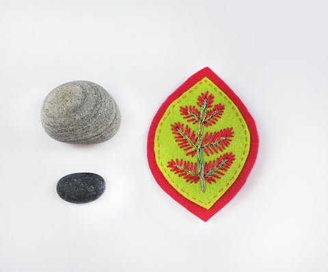 Embroidered Felt Brooch-- Hot Pink and Lime