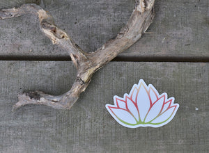 Pink and Green Lotus Indoor Outdoor Vinyl Sticker