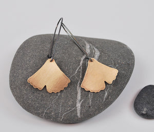 Large Ginkgo Dangle Earring Gold Filled Leaf on Oxidized Silver Hook