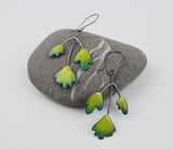 Maidenhair Fern Earrings Enameled Copper on Oxidized Sterling Silver