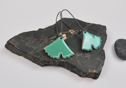 Teal Green Ginkgo on Oxidized Silver Hook