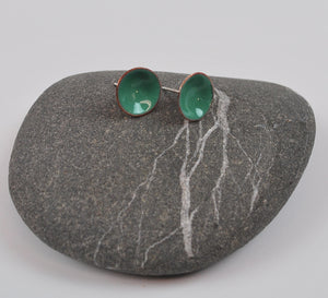 Mint Green Cups Enameled Earrings with Silver Posts