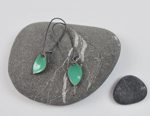 Teal Leaf Enameled Earring on Oxidized Silver Hook