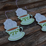 Misteltoe Teacup Wooden Ornament Laser Cut Wood and Handpainted