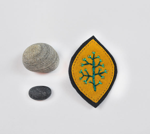 Embroidered Felt Brooch-- Mustard on Charcoal Grey