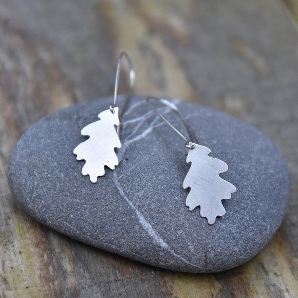 Oak Leaf Dangle Earring--Brushed Recycled Silver on Silver Kidney Earwires