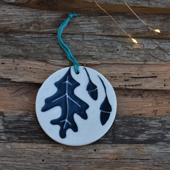 Oak Leaf Porcelain Ornament Sgraffito with Teal Silk