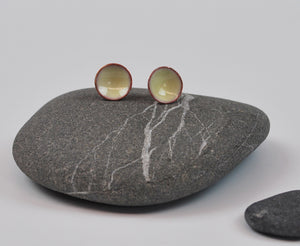 Cream Cups Enameled Earrings with Silver Posts
