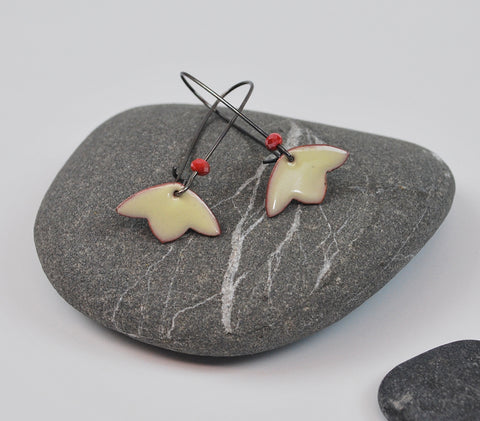 Cream Blossom Enameled Earring on Oxidized Silver Hook