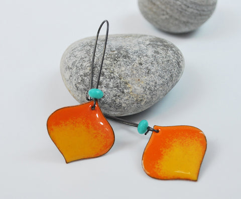 Flame Orange Ombre Onion Enameled Earring on Oxidized Silver Hook