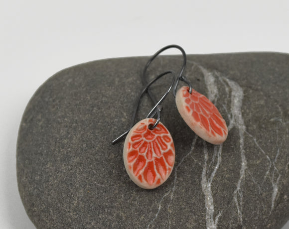 Small Orange Flower-- Porcelain on oxidized silver kidney hooks