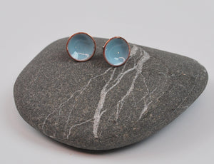 Pale Blue Cups Enameled Earrings with Silver Posts