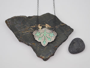 Pere Lachaise Pomegranate Necklace with Green Enamel under Oxidized Silver on Gold Filled Chain