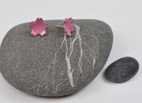 Pink Cherry Blossom Enameled Earrings with Silver Posts