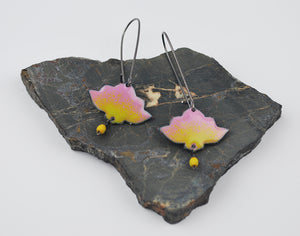 Pink Ombre Lotus Enameled Earring on Oxidized Silver Hook