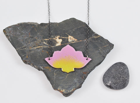 Pink Ombre Lotus Enameled Necklace on Oxidized Silver Chain