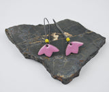 Pale Pink Blossom Enameled Earring on Oxidized Silver Hook