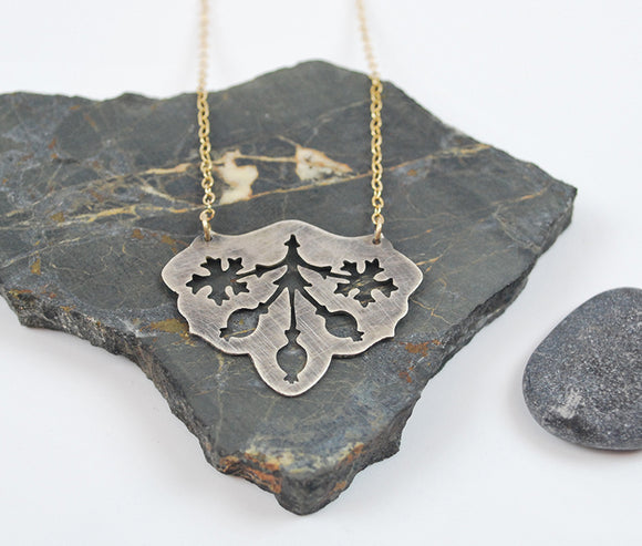 Pere Lachaise Pomegranate Necklace in Oxidized Silver on Gold Filled Chain