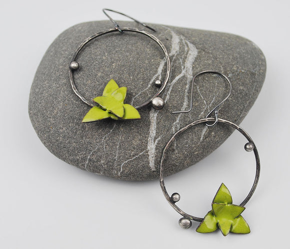 Succulent Hoops-Aloe in Bright Chartreuse Green Enameled Earring on Oxidized Silver