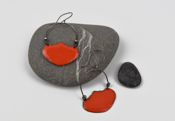 Red Basket Earrings Enameled Copper on Oxidized Sterling Silver
