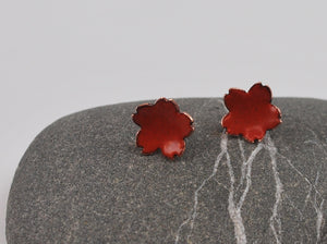 Red Cherry Blossom Enameled Earrings with Silver Posts