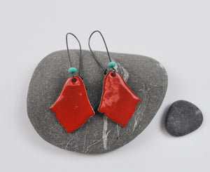 Red India Enameled Earring on Oxidized Silver Hook
