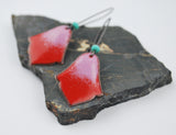 Red and Pink Ombre India Enameled Earring on Oxidized Silver Hook