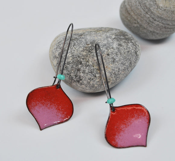 Red and Pink Ombre Onion Enameled Earring on Oxidized Silver Hook