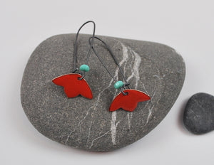Red Blossom Enameled Earring on Oxidized Silver Hook